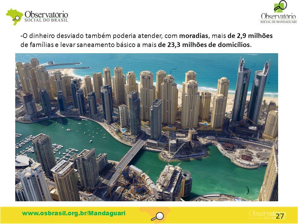 O dinheiro desviado também poderia atender, com moradias, mais de 2,9 milhões de famílias e levar saneamento básico a mais de 23,3 milhões de domicílios.
