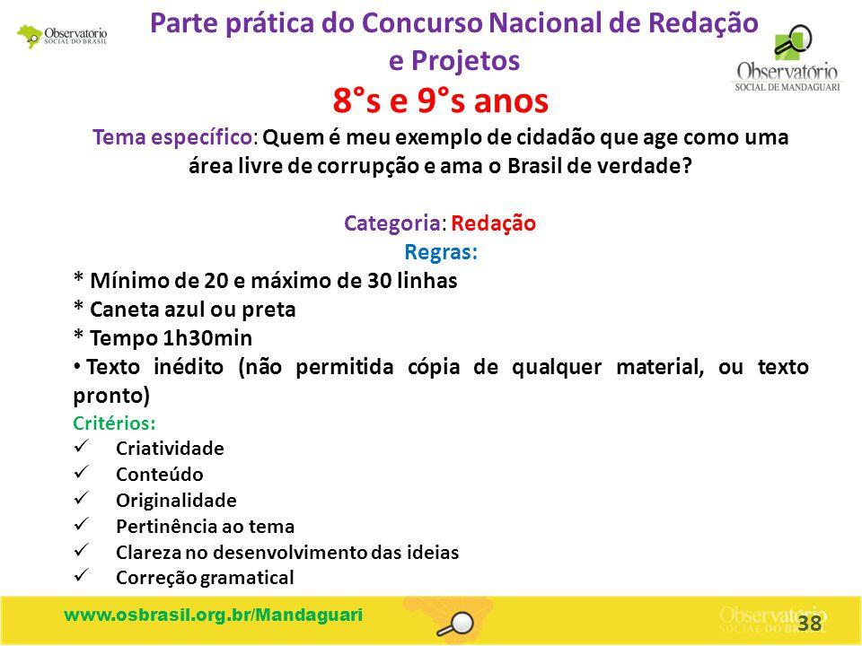 Parte prática do Concurso Nacional de Redação e Projetos