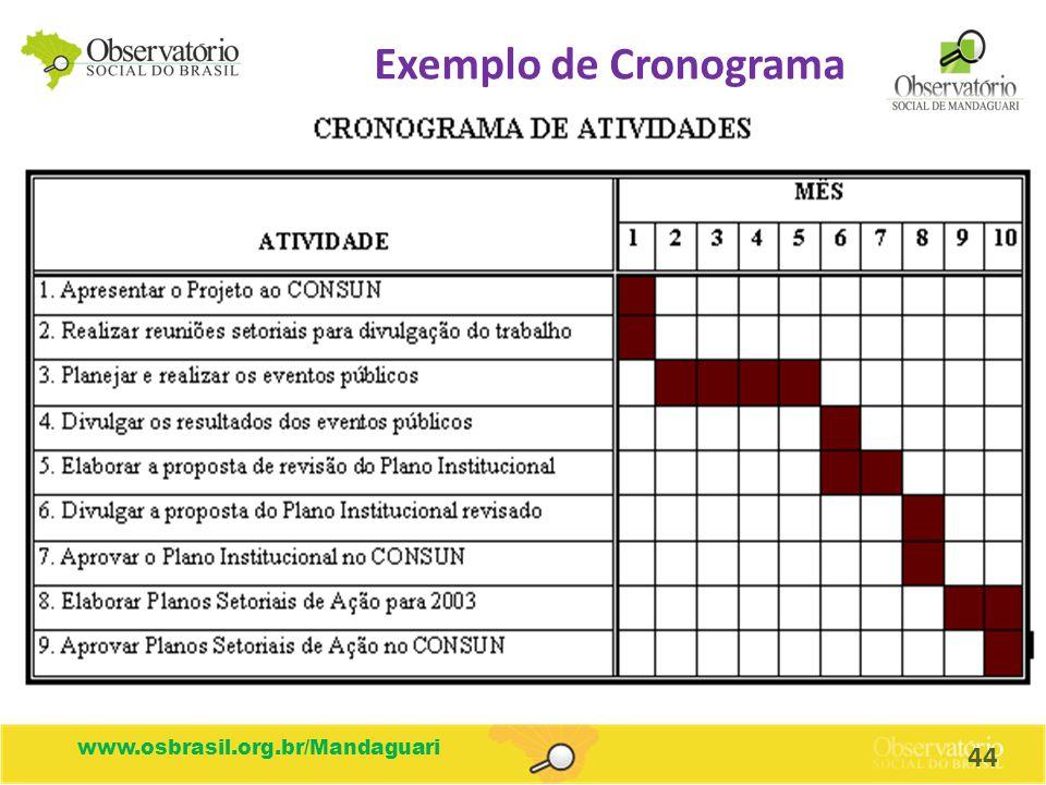 Exemplo de Cronograma www.osbrasil.org.br/Mandaguari