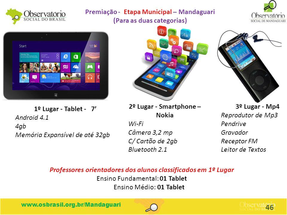Premiação - Etapa Municipal – Mandaguari (Para as duas categorias)