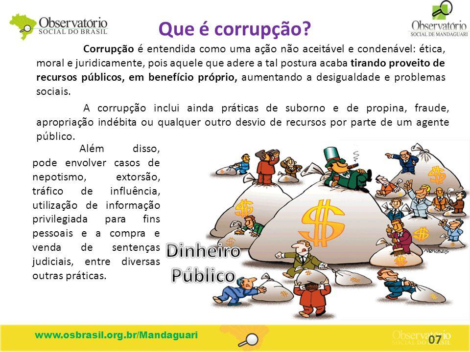 Que é corrupção Dinheiro Público