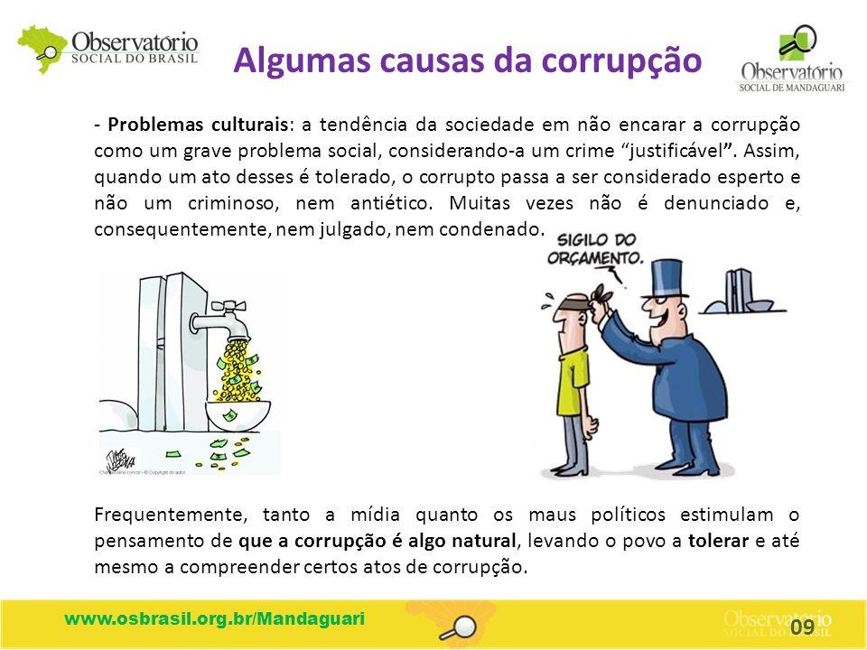 Algumas causas da corrupção