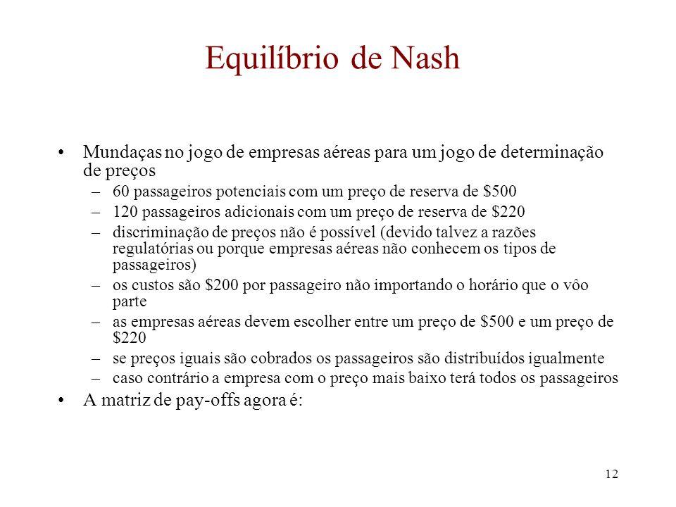 Equilíbrio de Nash Mundaças no jogo de empresas aéreas para um jogo de determinação de preços.