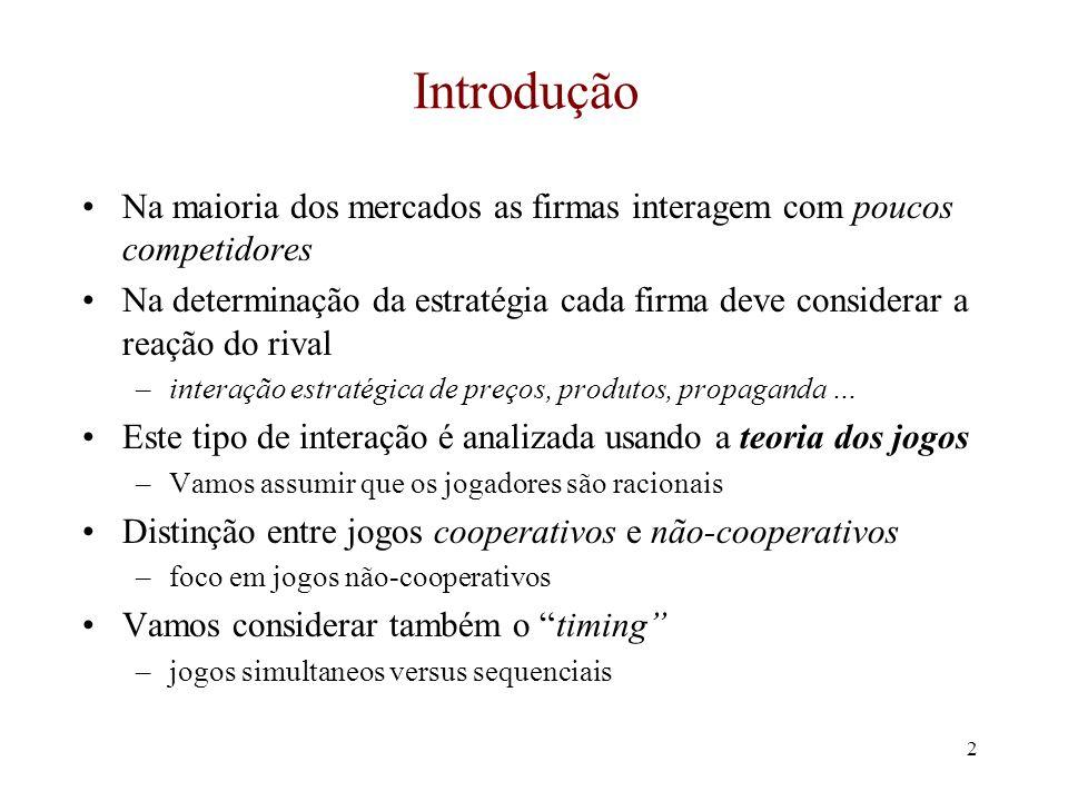 Introdução Na maioria dos mercados as firmas interagem com poucos competidores.