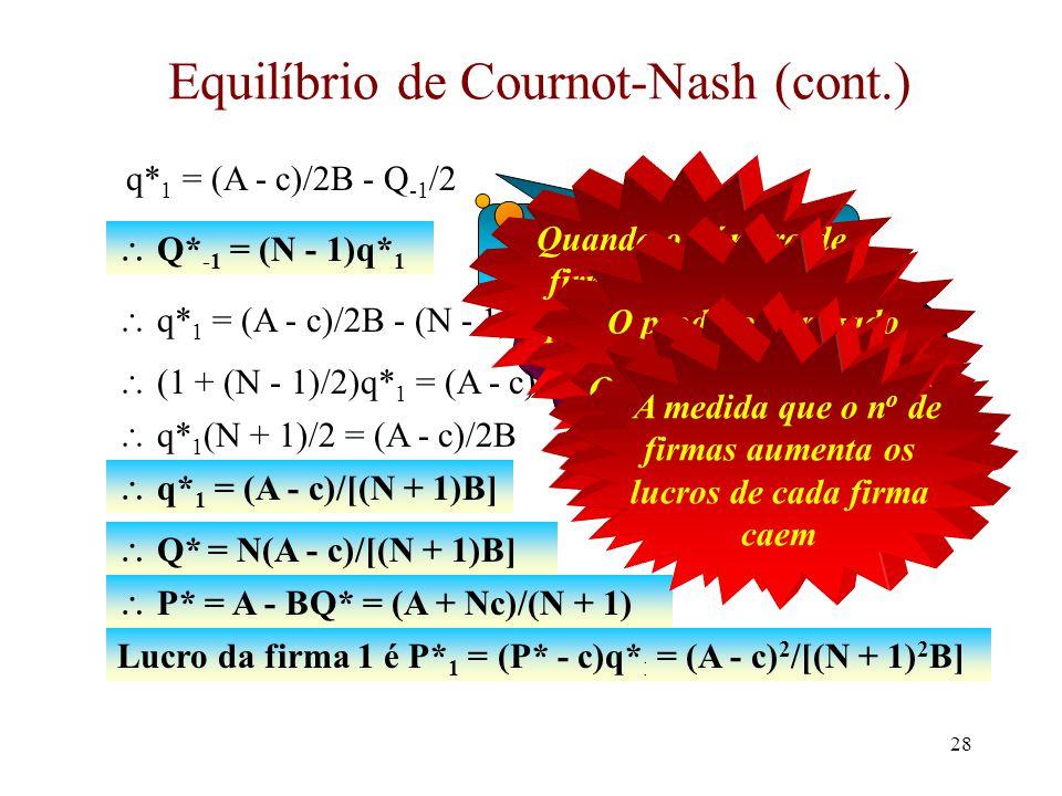 Equilíbrio de Cournot-Nash (cont.)