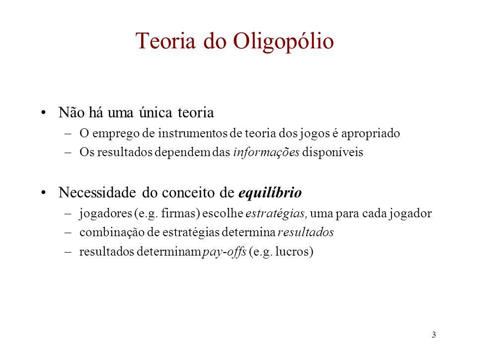 Teoria do Oligopólio Não há uma única teoria
