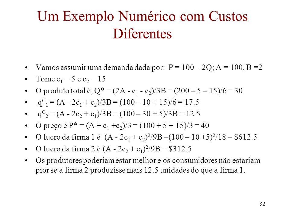 Um Exemplo Numérico com Custos Diferentes