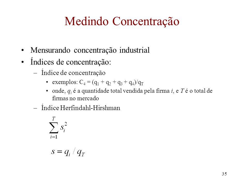 Medindo Concentração Mensurando concentração industrial