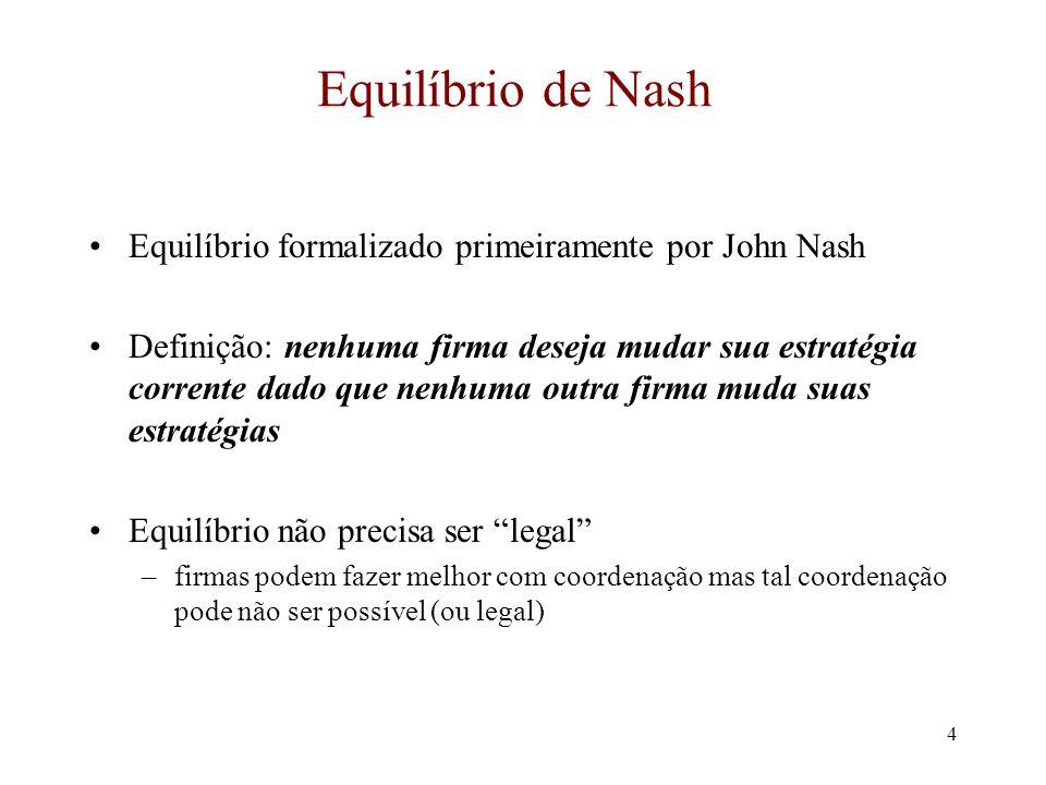 Equilíbrio de Nash Equilíbrio formalizado primeiramente por John Nash