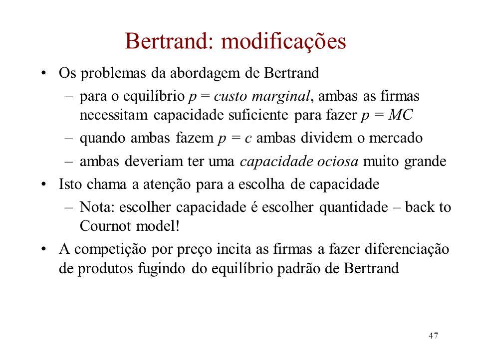 Bertrand: modificações