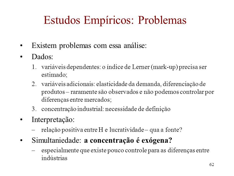 Estudos Empíricos: Problemas