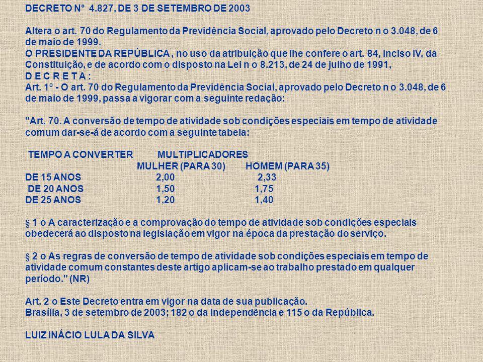 DECRETO N° 4. 827, DE 3 DE SETEMBRO DE 2003 Altera o art