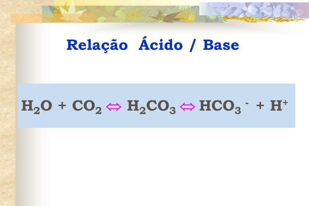 Relação Ácido / Base H2O + CO2  H2CO3  HCO3 - + H+