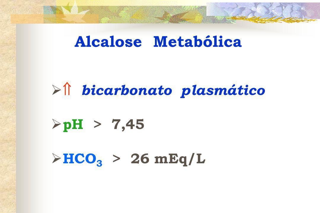 Alcalose Metabólica  bicarbonato plasmático pH > 7,45