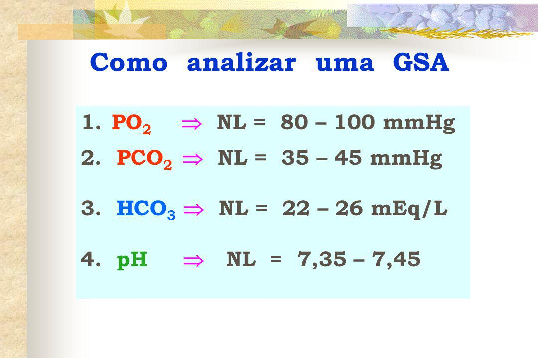 Como analizar uma GSA PO2  NL = 80 – 100 mmHg
