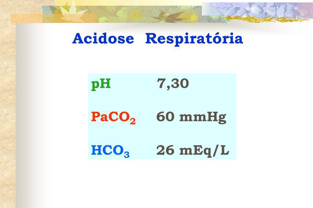 Acidose Respiratória pH 7,30 PaCO2 60 mmHg HCO3 26 mEq/L