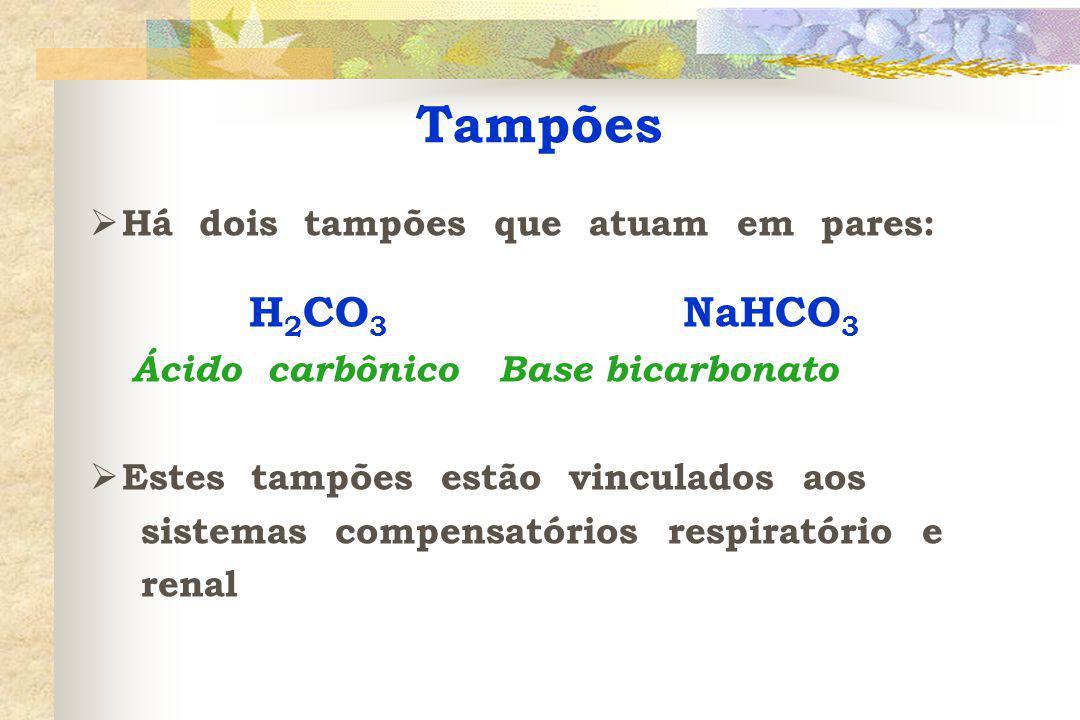 Tampões H2CO3 NaHCO3 Ácido carbônico Base bicarbonato