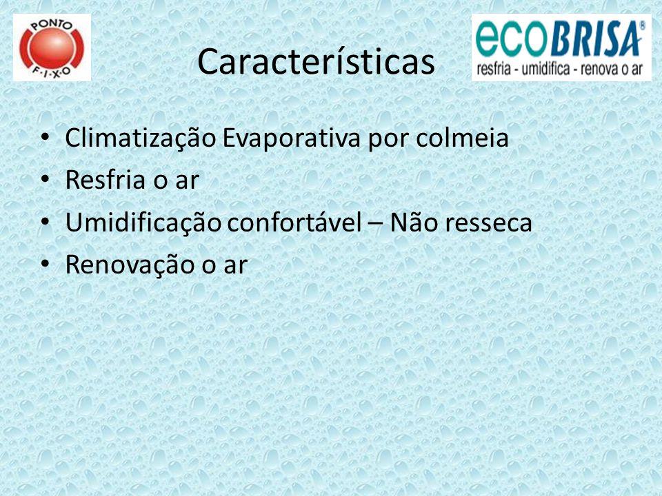 Características Climatização Evaporativa por colmeia Resfria o ar