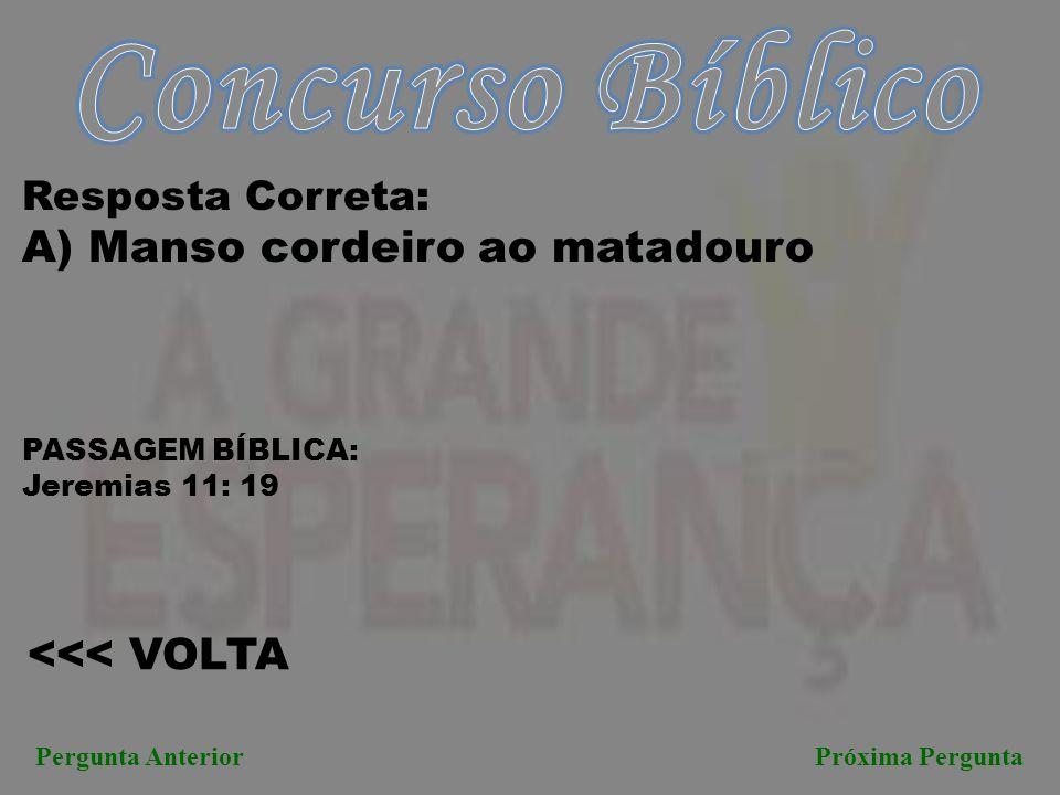 Concurso Bíblico A) Manso cordeiro ao matadouro <<< VOLTA