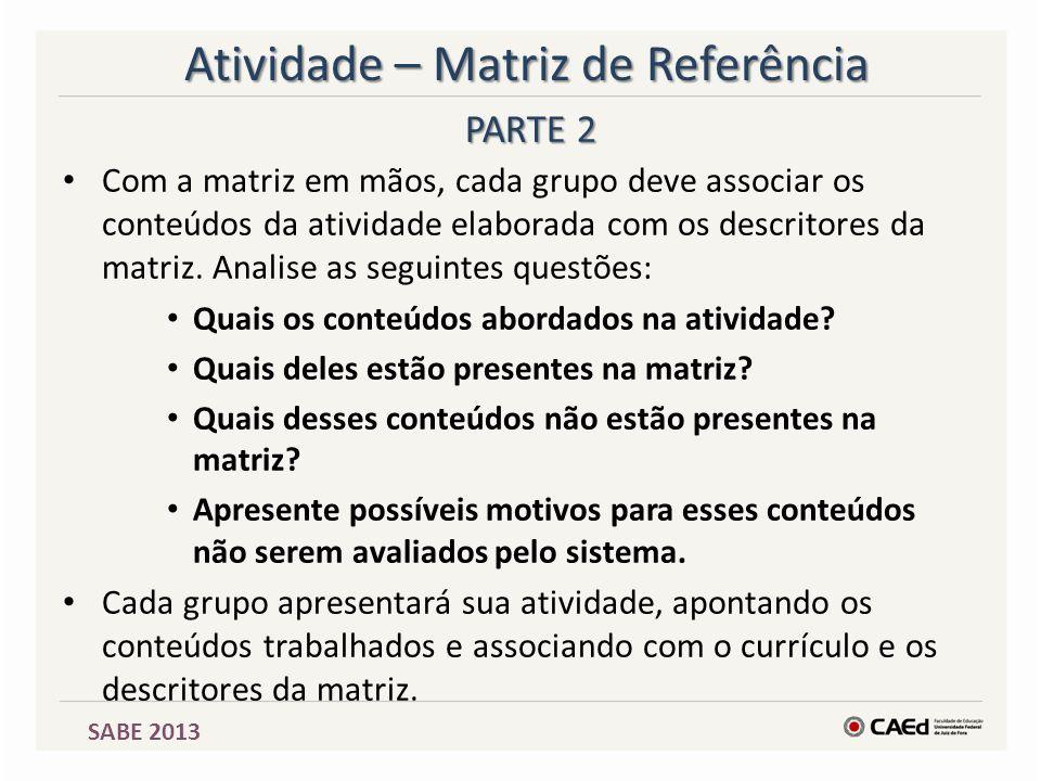 Atividade – Matriz de Referência