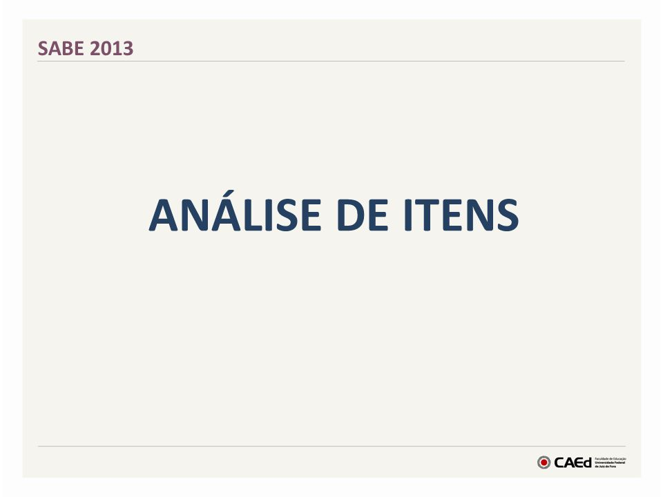 SABE 2013 Análise de itens
