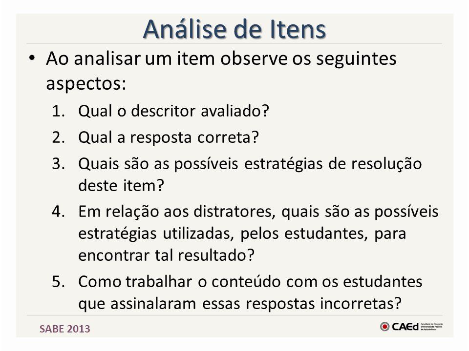 Análise de Itens Ao analisar um item observe os seguintes aspectos: