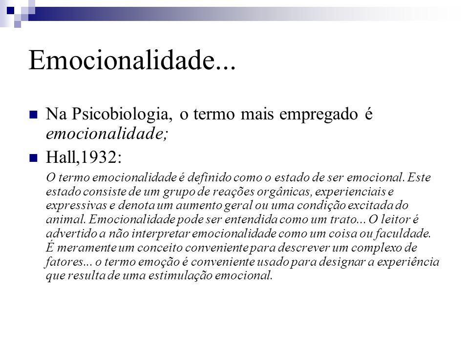 Emocionalidade... Na Psicobiologia, o termo mais empregado é emocionalidade; Hall,1932: