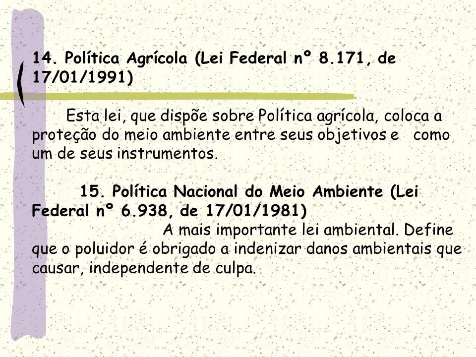 14. Política Agrícola (Lei Federal nº 8