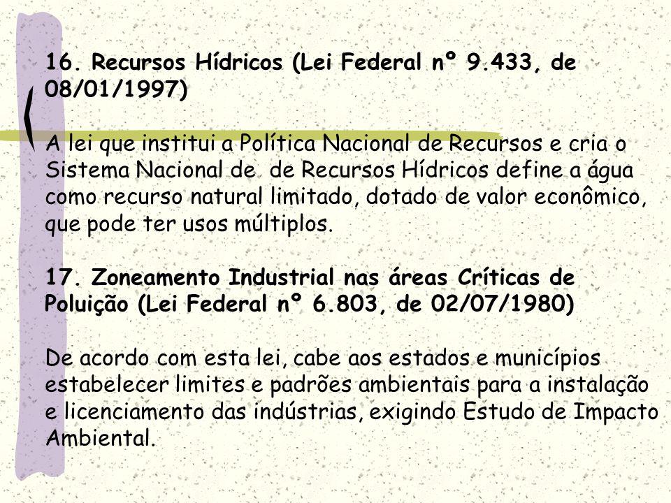 16. Recursos Hídricos (Lei Federal nº 9