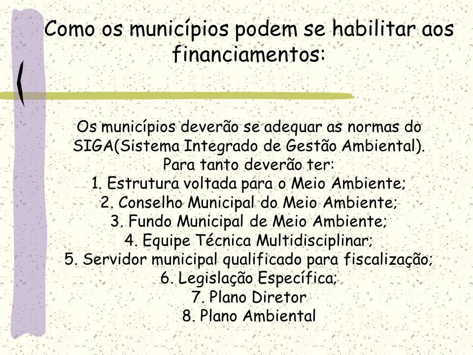 Como os municípios podem se habilitar aos financiamentos: Os municípios deverão se adequar as normas do SIGA(Sistema Integrado de Gestão Ambiental).