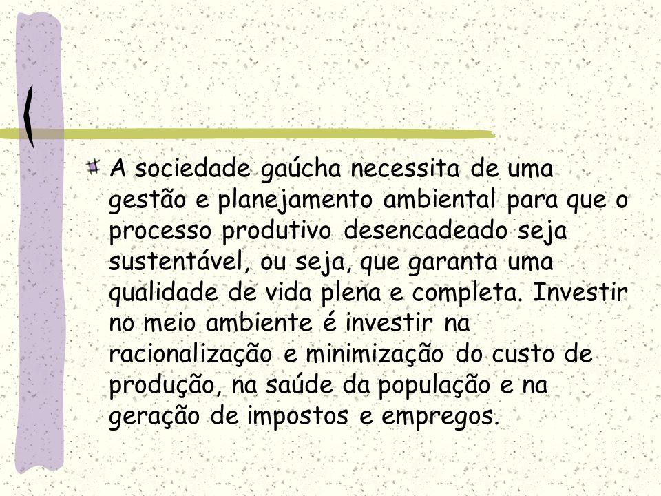 A sociedade gaúcha necessita de uma gestão e planejamento ambiental para que o processo produtivo desencadeado seja sustentável, ou seja, que garanta uma qualidade de vida plena e completa.