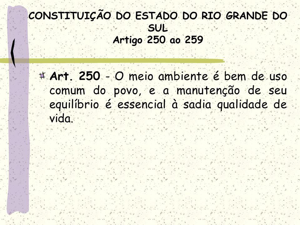 CONSTITUIÇÃO DO ESTADO DO RIO GRANDE DO SUL Artigo 250 ao 259