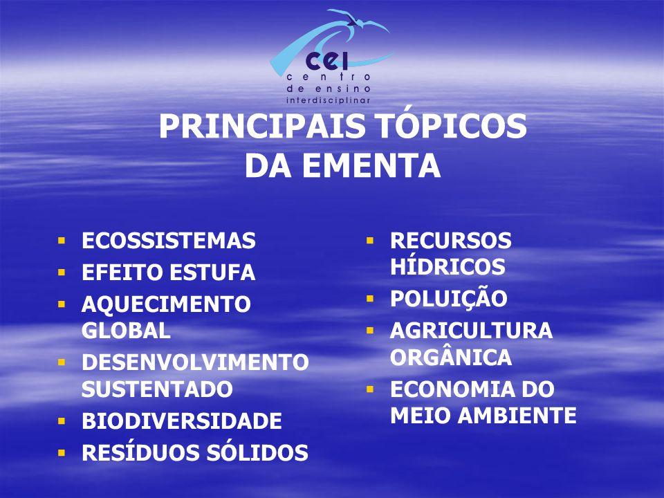 PRINCIPAIS TÓPICOS DA EMENTA
