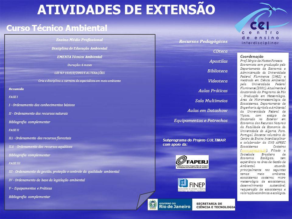 ATIVIDADES DE EXTENSÃO Curso Técnico Ambiental