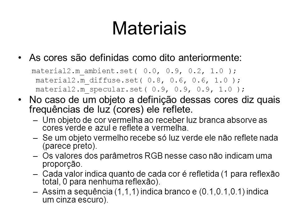 Materiais As cores são definidas como dito anteriormente: