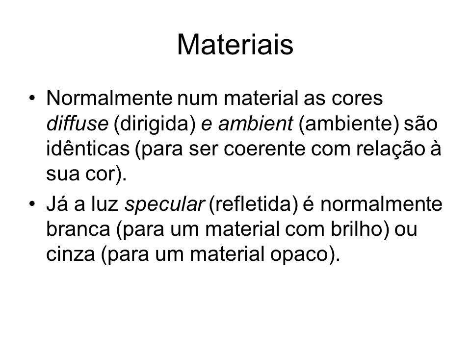 Materiais Normalmente num material as cores diffuse (dirigida) e ambient (ambiente) são idênticas (para ser coerente com relação à sua cor).