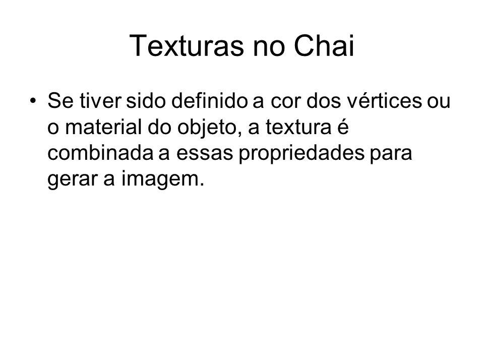 Texturas no Chai Se tiver sido definido a cor dos vértices ou o material do objeto, a textura é combinada a essas propriedades para gerar a imagem.