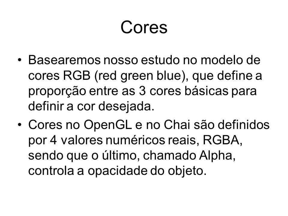 Cores Basearemos nosso estudo no modelo de cores RGB (red green blue), que define a proporção entre as 3 cores básicas para definir a cor desejada.