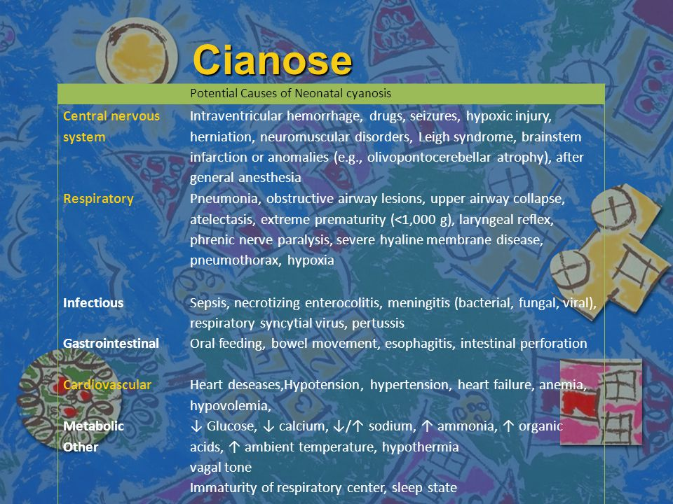 Cianose Central nervous system