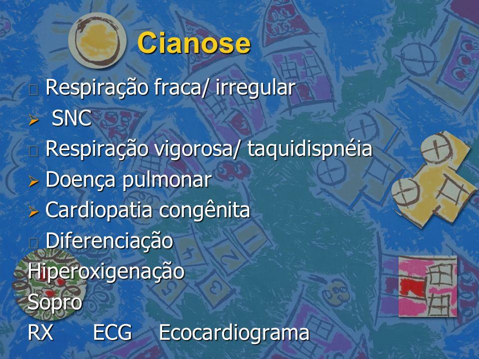 Cianose Respiração fraca/ irregular SNC