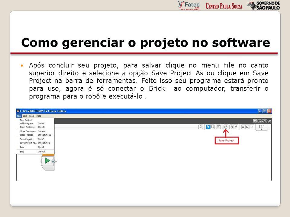 Como gerenciar o projeto no software