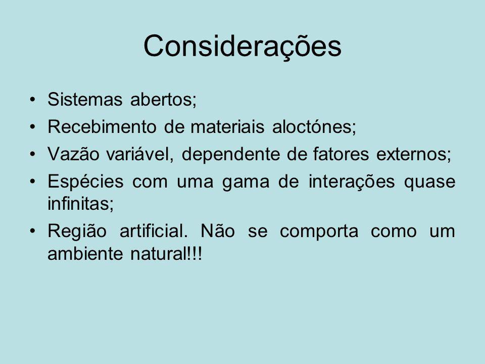 Considerações Sistemas abertos; Recebimento de materiais aloctónes;