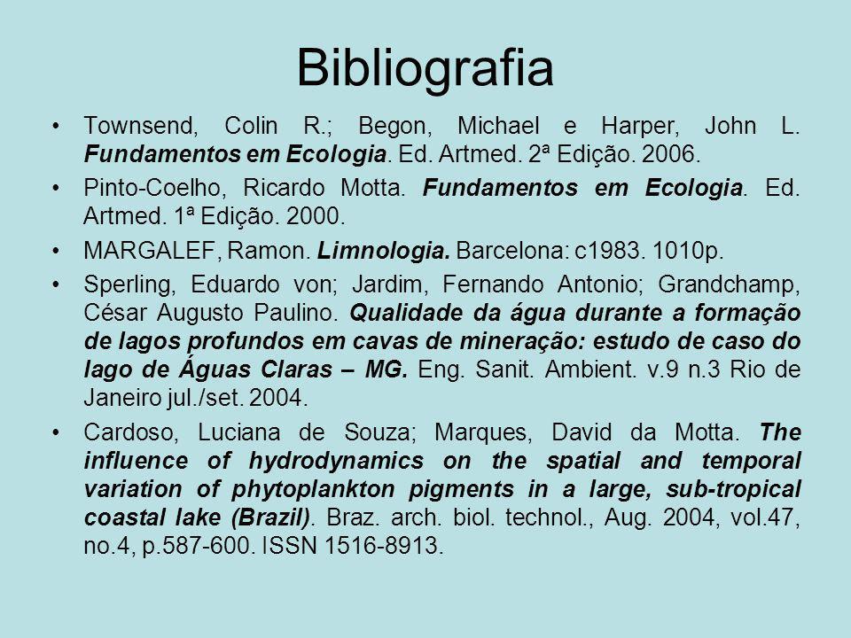 Bibliografia Townsend, Colin R.; Begon, Michael e Harper, John L. Fundamentos em Ecologia. Ed. Artmed. 2ª Edição. 2006.