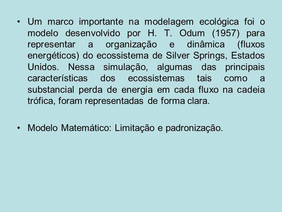 Um marco importante na modelagem ecológica foi o modelo desenvolvido por H. T. Odum (1957) para representar a organização e dinâmica (fluxos energéticos) do ecossistema de Silver Springs, Estados Unidos. Nessa simulação, algumas das principais características dos ecossistemas tais como a substancial perda de energia em cada fluxo na cadeia trófica, foram representadas de forma clara.