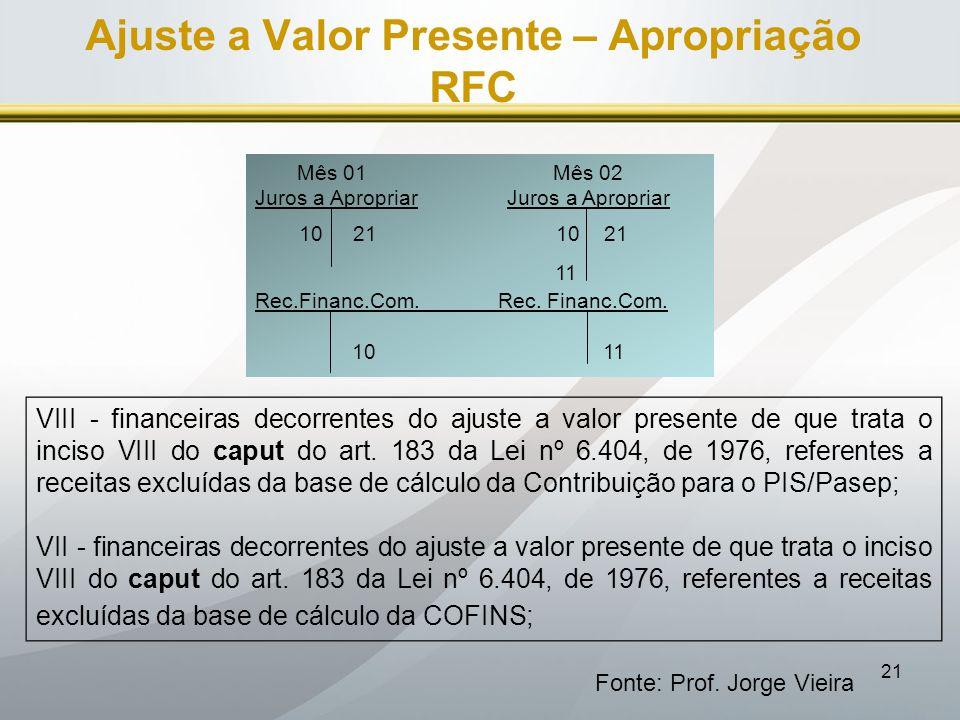 Ajuste a Valor Presente – Apropriação RFC