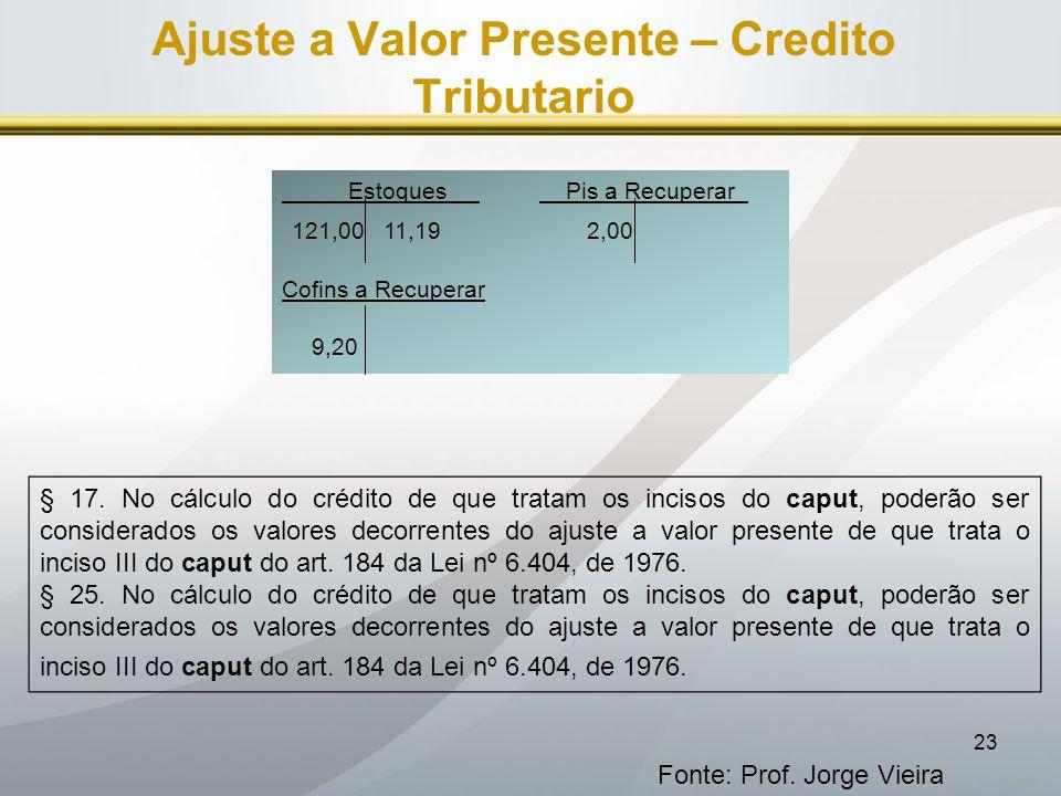 Ajuste a Valor Presente – Credito Tributario