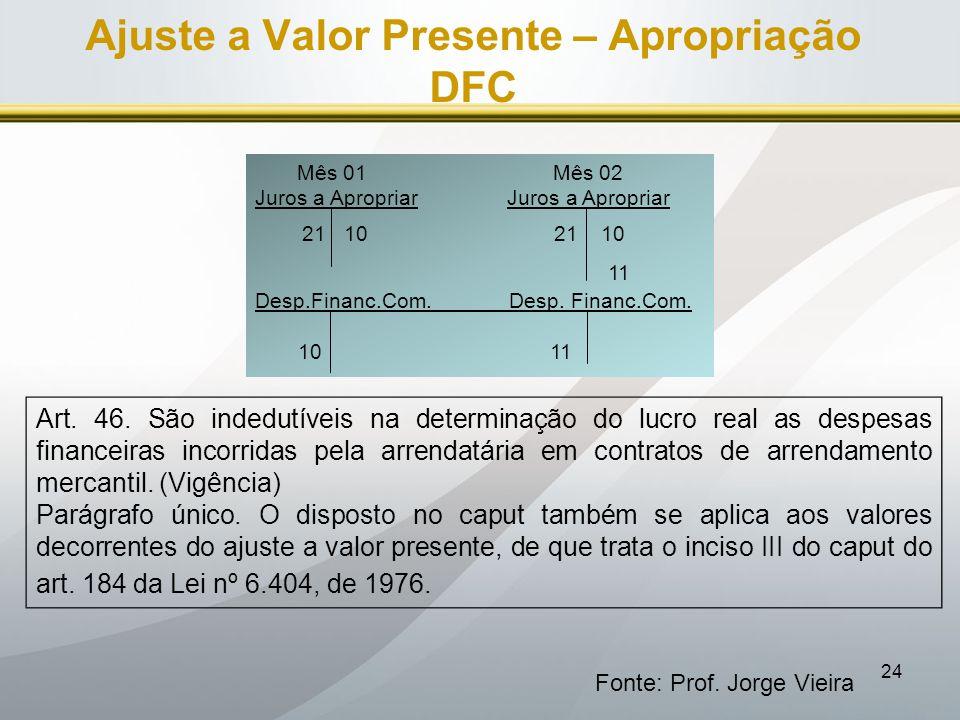 Ajuste a Valor Presente – Apropriação DFC
