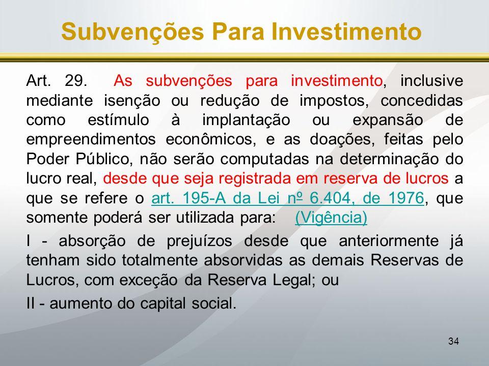 Subvenções Para Investimento