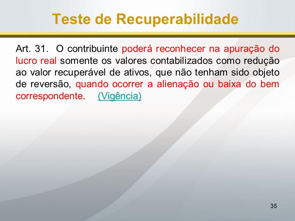 Teste de Recuperabilidade