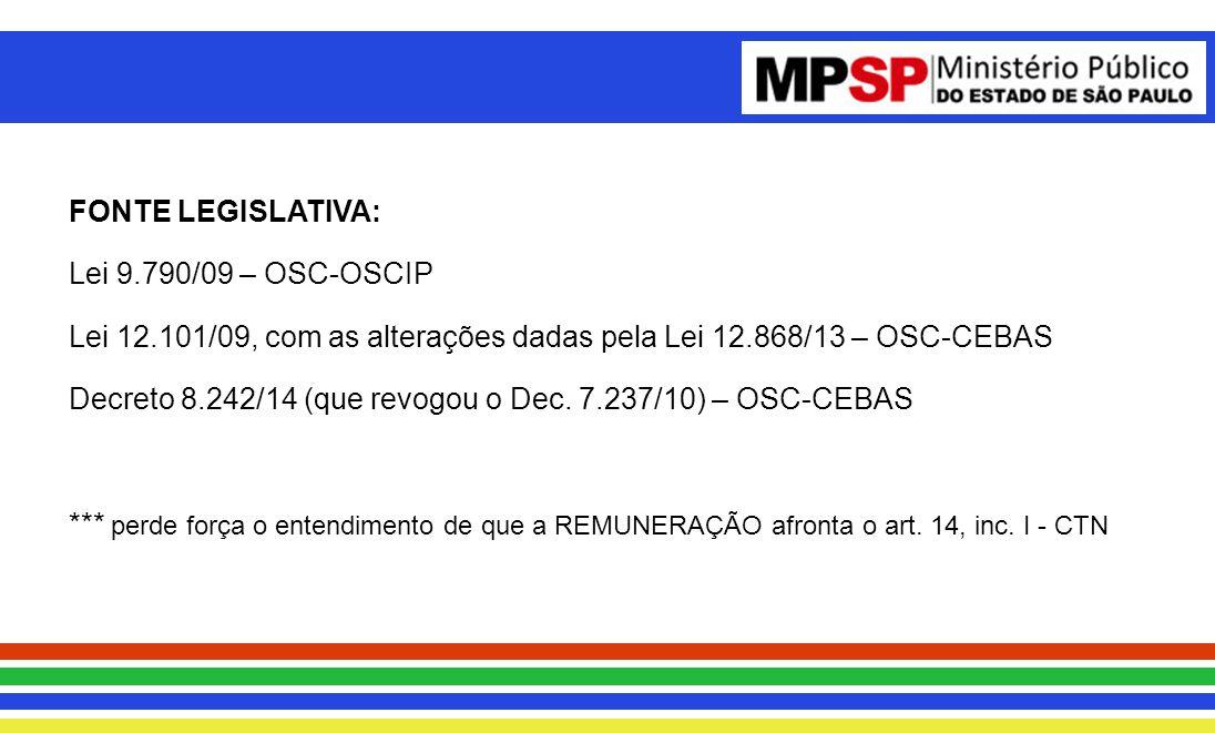FONTE LEGISLATIVA: Lei 9.790/09 – OSC-OSCIP. Lei 12.101/09, com as alterações dadas pela Lei 12.868/13 – OSC-CEBAS.